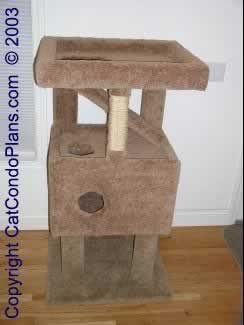 How to make platforms with short walls on cat tower diy for Make a cat condo